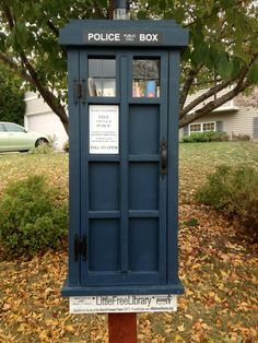 """From the Little Free Library Facebook page (http://www.facebook.com/photo.php?fbid=434938523210519=a.230999346937772.49178.215442228493484=1): The Sunday Select for 10/7/12! Attention all Dr. Who fans, presenting...The Tardis Little Free Library! This Library is located in Madison, WI."""" More at the FB page; click-through page suggests some good """"timey-wimey"""" reads."""