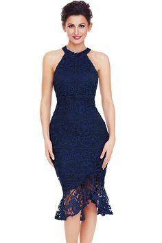 15979a20118 Navy Sleeveless Lace Fishtail Bodycon Dress