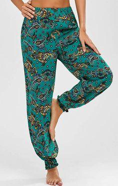 High Waist Paisley Print Harem Pants