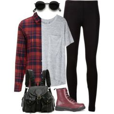 College Outfit with Black Legging #polyvore #ootd