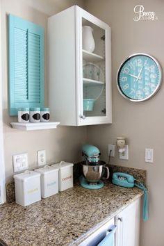 Whimsical Aqua Touches Abound in This DIY Kitchen Created by Breezy Design at… Aqua Kitchen, Kitchen Redo, Kitchen Design, Tiffany Blue Kitchen, Turquoise Kitchen Decor, Orange Kitchen, Kitchen Chairs, Kitchen Curtains, Kitchen Ideas