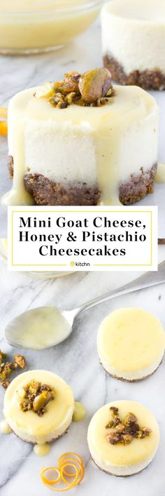 Mini goat cheese, honey, and pistachio cheesecakes with Meyer lemon cream topping. Looking for easy ideas and recipes for romantic Valentine's Day desserts? These individual cheesecakes bites are perfect for holidays like easter and christmas too if you need baking projects inspiration!