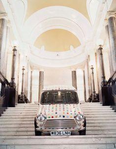 Damien Hirst Installation view at County Hall, Spot Mini 2000 Motor car with vinyl graphics 130 x 140 x 300 cm 51 x 55 x Royce, Jaguar, Flying Vehicles, Tokyo Motor Show, Saatchi Gallery, Phantom, Damien Hirst, Galleries In London, Bmw