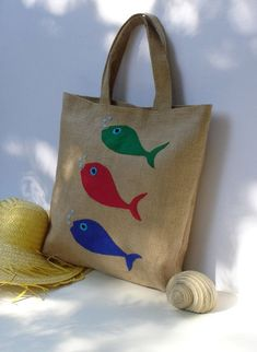 Items similar to Fish summer Jute Tote bag appliqued with three fish handmade artistic eco friendly shoppers bag beach bag on Etsy Jute Tote Bags, Hand Applique, Shopper Bag, Gift Packaging, Packaging Design, Handmade Bags, Cute Gifts, Etsy, Eco Friendly