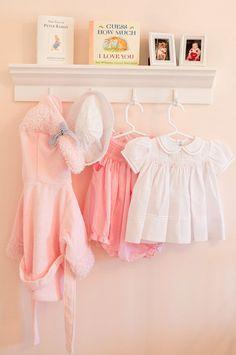 Pink Baby Girl Nursery Shelf - Kiddos at Home My Baby Girl, Baby Love, Girl Room, Girls Bedroom, Bedrooms, Small Space Nursery, Pink Dresser, Ideas Dormitorios, Nursery Shelves