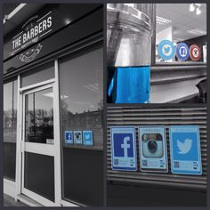 The guys at Harold Hill Barbers are helping turn their footfall into followers with tags inside and out.. #barberlife #barbershop #socialmediastickers