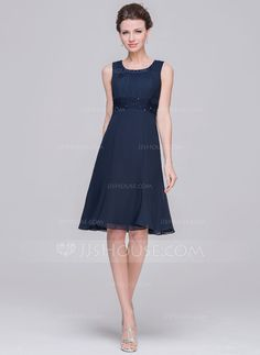 A-Line/Princess Scoop Neck Knee-Length Ruffle Lace Beading Sequins Zipper Up Regular Straps Sleeveless Yes 2015 Dark Navy Spring Summer Fall Winter General Plus Chiffon Mother of the Bride Dress