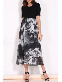 Zaful - Zaful Round Collar Short Sleeve Printed Spliced Dress - AdoreWe.com
