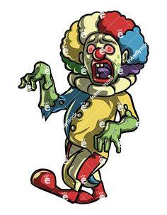 Creepy Scary Clown Zombie Cartoon Clipart Vector 9a7ae8ad928a0