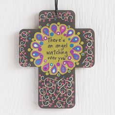 """Cross Air Freshener - You're going to enjoy this set of three jasmine-scented car air fresheners in inspiring cross design reminds you that """"there's an angel watching over you"""". Shop our entire collection of car air fresheners at Natural Life today!"""