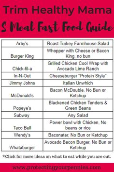 THM Fast food options for S Meals while you are out. You can find good and quick Trim Healthy Mama fast food choices in the quick reference guide. Fast Healthy Meals, Healthy Snacks, Eating Healthy, Easy Meals, Healthy Carbs, Healthy Detox, Dinner Healthy, Healthy Cooking, Clean Eating