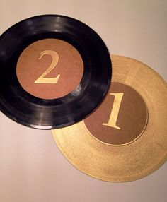 "Table number records 45 rpm vinyl record table numbers 7"" vinyl record table number wedding table number gold vinyl record by MissWhitsDesigns on Etsy"