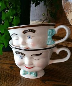 Vintage Baileys's Irish Creme Winking Cups Set, Bailey's Yum Coffee Cups, by EmptyNestVintage on Etsy