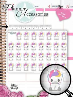 Unicorn Stickers Unicorn Planner Stickers Birthday Stickers Functional Stickers Life Planner Kawaii Stickers Planner Accessories Cute by EmelysPlannerShop Planner Kawaii, Cute Planner, Happy Planner, Stickers Kawaii, Unicorn Stickers, Food Stickers, Filofax, Planner Stickers, Printable Planner