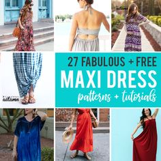 Click through for the BEST free maxi dress patterns and tutorials so you can sew up a new long dress whenever you want. Maxi dress patterns with and without sleeves. Long Dress Patterns, Dress Sewing Patterns, Pattern Dress, New Long Dress, Maxi Dress Tutorials, Diy Summer Clothes, Short Beach Dresses, Diy Clothes Refashion, Backless Maxi Dresses