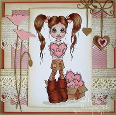 Hugs and Kisses Doll Crafts, Paper Crafts, Holiday Cards, Valentine Cards, Wink Of Stella, Crate Paper, Digi Stamps, Copics, Copic Markers