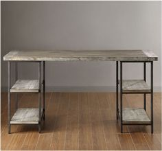 I need this desk in my life... Industrial Desk Modern Wood Handcrafted Reclaimed Look Shelving Large Work Space