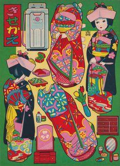 続いても、カゴメ玩具1960年頃の「きせかえ人形・花嫁衣装バージョン」です。 この型の洗濯機で1960年前後だと言えるでしょうかね。。。 意外にこの手の紙モノは時代特定が難しいんですよね。。。 色々なヒントから年代を読み解くのもレトロモノの楽しみでは有ります。。 この紹介している逸品は骨董市モノなんですが多分デッドストックだったものなんでしょう。。 インクの退色も無くグッドコンデションです。。  では、どうぞ。  1960年頃のモノでしょうか。