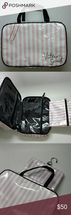 Authentic Victoria Secret case Authentic pink and white striped travel case. Has a handy hanger  And 3 pouches for travel items. Study material. Purchased this for a gift but ended up getting something different and I have one already. Brand new never used. Victoria's Secret Makeup Brushes & Tools