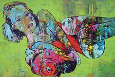 KUNST EN DESIGN: Schilderij Girl with gun