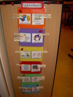 Takenbord met knijpers. Op elke knijper staat een naam van een leerlingen. De namen staan aan beide kanten, zodat als de knijper aan de andere kant komt te hangen de naam niet op zijn kop staat.