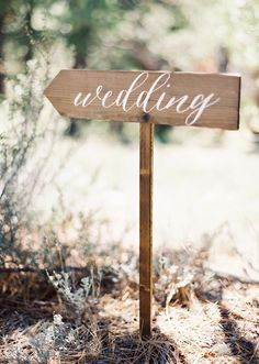Wedding Directional Sign with Post by Mulberry Market Design I remember a few years back when I was helping plan my beautiful friend Heidi's wedding. She was looking for an elegant rustic/gar…