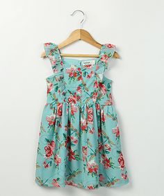 Look at this Beebay Turquoise Dragonfly Georgette Dress - Girls on #zulily today!