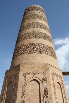 The Burana Tower is a large minaret in the Chuy Valley in northern Kyrgyzstan. It is located about 80 km east of the country's capital Bishkek. The tower, along with grave markers, some earthworks and the remnants of a castle and three mausoleums, is all that remains of the ancient city of Balasagun,[1] which was established by the Karakhanids at the end of the 9th century. An external staircase and steep, winding stairway inside the tower enables visitors to climb to the top.