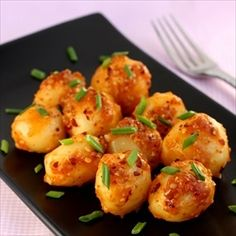 chilli garlic potatoes | really wanted to like this, but just did not. think i am too accustomed to roasting or grilling potatoes, these just had no crunch or... pop. Great seasonings, but just did not play out well for our taste buds.