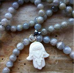 Hand of Protection, hamsa mala, hamsa prayer beads, protection mala, protection prayer beads, pagan prayer beads, pagan mala, by MagickAlive on Etsy