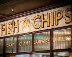 the fish amp chip shop posh new chippy in the city Mcdonald's Restaurant, Restaurant Design, Fish And Chips Restaurant, Bar, Retro Signage, Fish And Chip Shop, Menu Boards, Sign Boards, Chips Brands