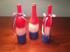 July 4th Decor, Wine bottle upcycling