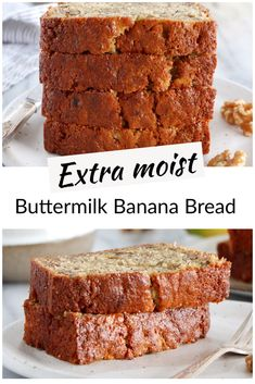 Forget all the banana bread recipes you have tried before, the only one you need is this one. Truly the best, with an extraordinary moist texture. Discover its secret ingredient now! Buttermilk Banana Bread, Best Banana Bread, Healthy Banana Bread, Banana Dessert, Healthy Dessert Recipes, Healthy Food, Banana Bread Recipes, Banana Pudding, Bakery