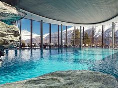 Nestled in the Upper Engadin, Badrutt's Palace Hotel in St. Moritz makes spectacular use of its sky-high surroundings. The underground rock-walled spa was blasted into the Swiss Alps, and the indoor pool, encircled by floor-to-ceiling glass, offers up a dreamy swim. A Finnish sauna beckons, as do the full-body renewal treatments and hydrating gold water.