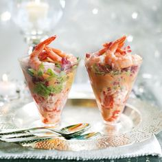 A classic starter recipe, updated with crimson chicory and tender crayfish. Crayfish and Shrimp Cocktail with Bitter Leaves Christmas Dinner Starters, Xmas Dinner, Christmas Lunch, Christmas Cooking, Xmas Starters, Prawn Starters, Christmas Entrees, Christmas Pudding, Sauce Cocktail