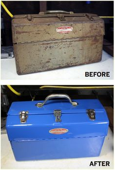 How To: Refinish an Old Metal Toolbox | Man Made DIY | Crafts for Men | Keywords: sanding, paint, metal, toolbox