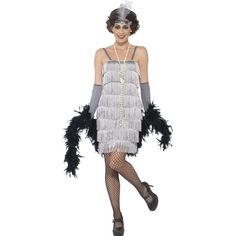 20er Jahre Marta Flapper Kostüm grau