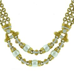 Estate_Pearl_0.50ct_Round_Cut_Diamond_18k_Yellow_Gold_Necklace | New York Estate Jewelry | Israel Rose