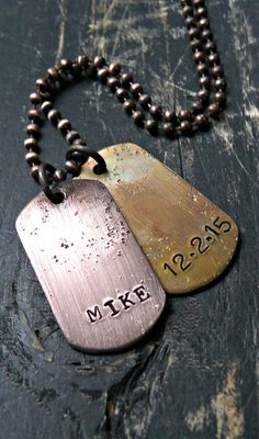 Double Mens Rustic Dog Tags Mens Dog Tag by yourcharmedlife