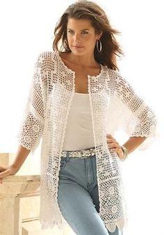 Plus Size Scalloped Border Crochet Cardigan cream size L: