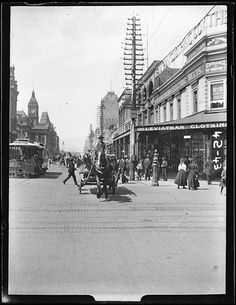 Looking Sth along Swanston Street from Bourke St intersection circa To the left of the horse cart is the Carlton cable tram, R is the original two storey Leviathan building, demolished circa 1911 for today's 5 storey structure. Melbourne Victoria, Victoria Australia, Melbourne Australia, Brisbane, Melbourne Street, Historical Images, Great Barrier Reef, Cairns, Old Photos