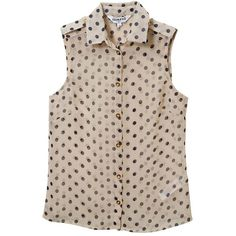 Sleeveless Polka Dot Blouse ❤ liked on Polyvore