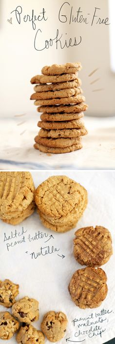 Perfect Gulten-Free Cookies! Salted Peanut Butter and Nutella cookie recipes! Substituted honey instead of the sugar & they were wonderful!