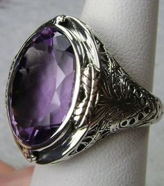 925 Silver Art deco amethyst ring size 9.5 by UniqueSilverBox