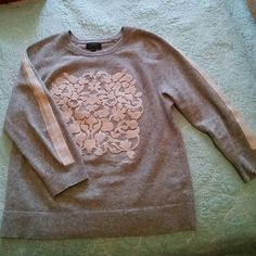 With cashmere grey long sleeve sweater medium Great designer sweater to have J. Crew with cashmere. Long sleeve with original floral design on front and along the sleeve J. Crew Sweaters