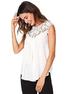 Milumia Women's Keyhole Back Daisy Lace Shoulder Shell Top Shell Tops, Chiffon, Ruffle Blouse, Tank Tops, Shoulder, Lace, Women, Fashion, Silk Fabric