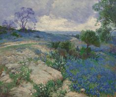 Texas landscape with Bluebonnets by Julian Onderdonk | Art Posters