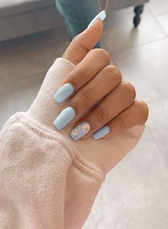 91 simple short acrylic summer nails designs for 2019 page 13 Nageldesign Nail Art Nagellack Nail Polish Nailart Nails Blue Acrylic Nails, Simple Acrylic Nails, Acrylic Nail Designs For Summer, Almond Nails Designs Summer, Blue Nail Designs, Metallic Nails, Pastel Blue Nails, Acrylic Nail Art, Designs On Nails