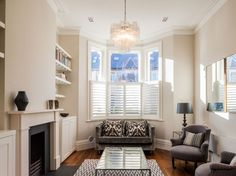 alcove shelving/shutters, we are thinking of putting shutters in! Living Room Shelves, Home Living Room, Living Room Furniture, Living Room Decor, Living Spaces, Victorian Terrace Interior, Alcove Shelving, Living Room Arrangements, Beautiful Living Rooms
