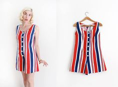 CLEARANCE // vintage 1960s romper // 60s striped by TrunkofDresses